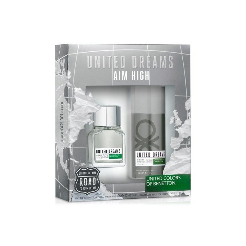 United Dreams, aim high EDT 60ml + Deo Spray 150ml Man set UNITED COLORS OF BENETTON