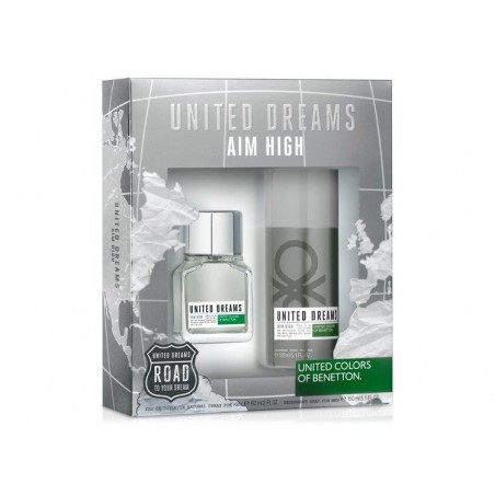 United Dreams, aim high EDT 60ml + Deo Spray 150ml Homem set UNITED COLORS OF BENETTON